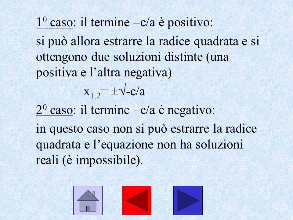10 caso: il termine –c/a è positivo: