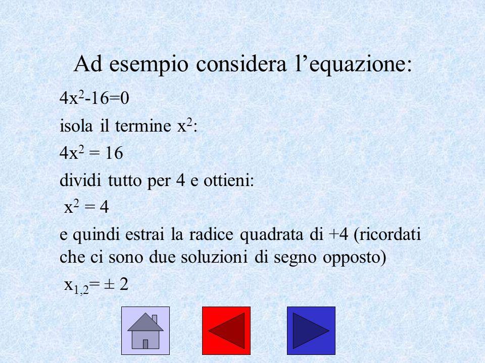 Ad esempio considera l'equazione: