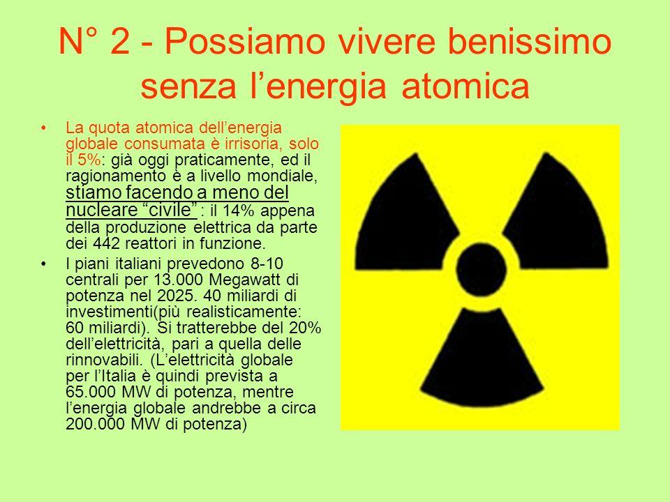 N° 2 - Possiamo vivere benissimo senza l'energia atomica
