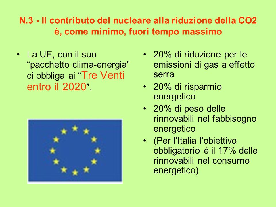 N.3 - Il contributo del nucleare alla riduzione della CO2 è, come minimo, fuori tempo massimo