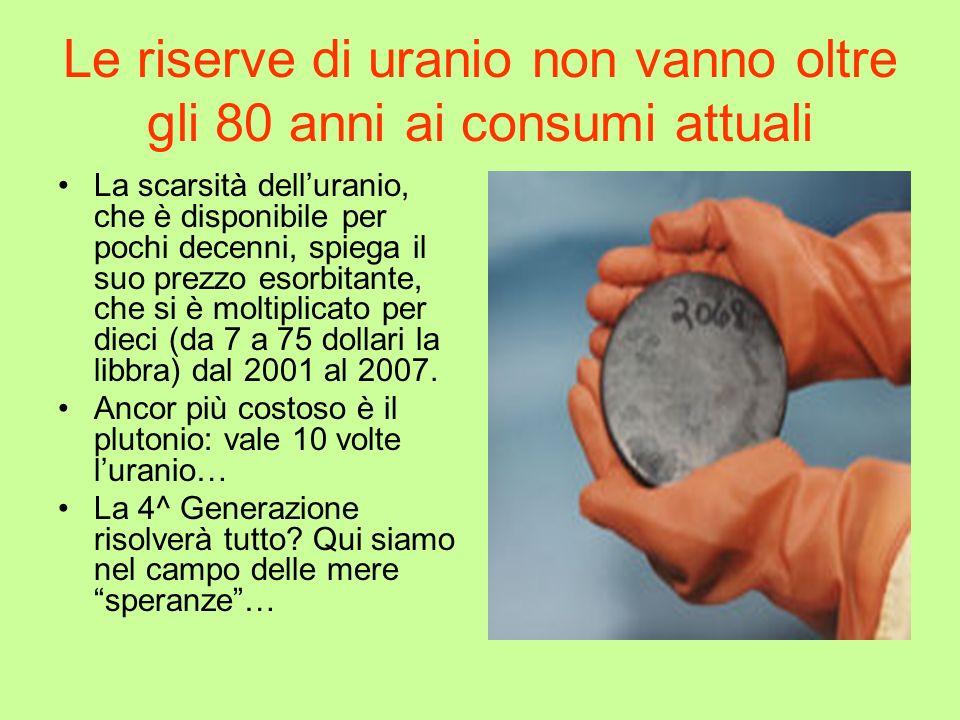 Le riserve di uranio non vanno oltre gli 80 anni ai consumi attuali
