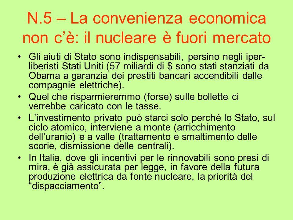 N.5 – La convenienza economica non c'è: il nucleare è fuori mercato