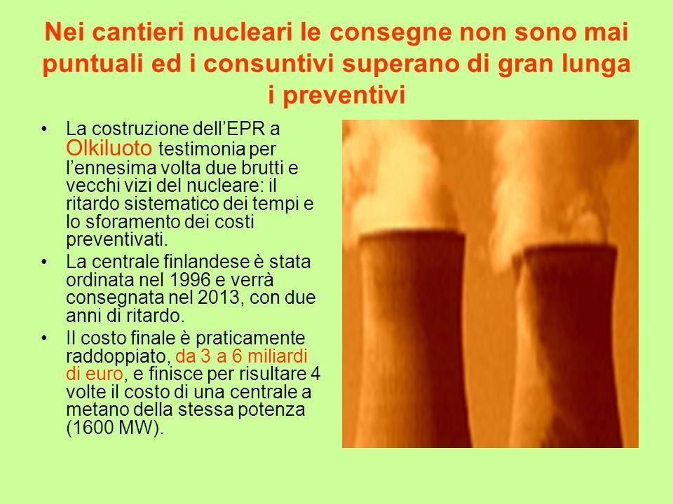 Nei cantieri nucleari le consegne non sono mai puntuali ed i consuntivi superano di gran lunga i preventivi