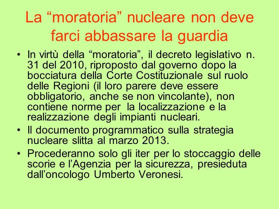 La moratoria nucleare non deve farci abbassare la guardia