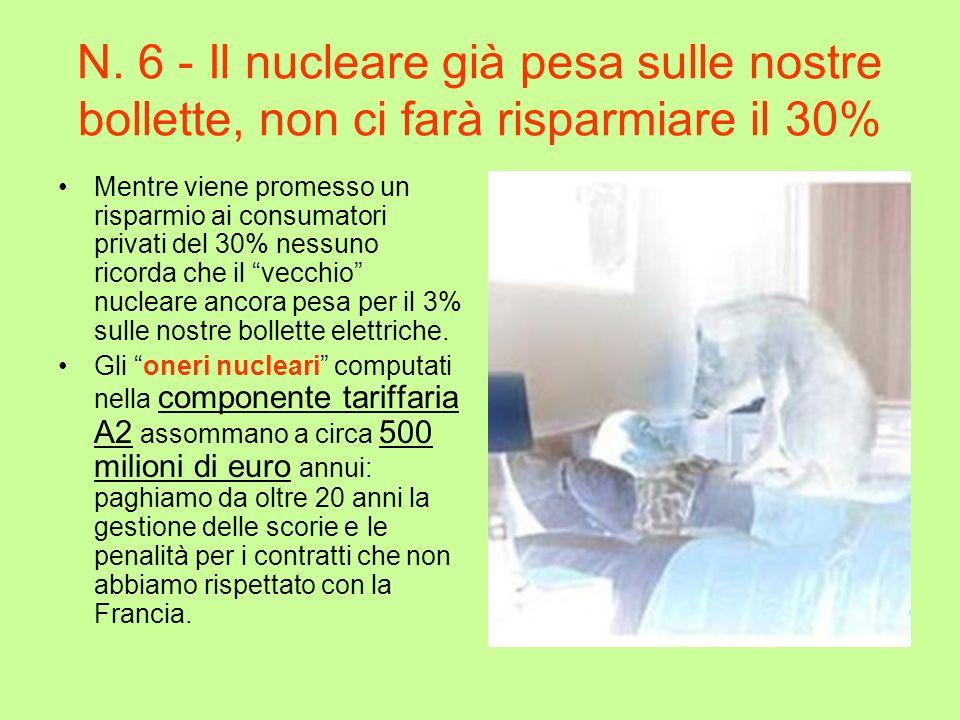 N. 6 - Il nucleare già pesa sulle nostre bollette, non ci farà risparmiare il 30%