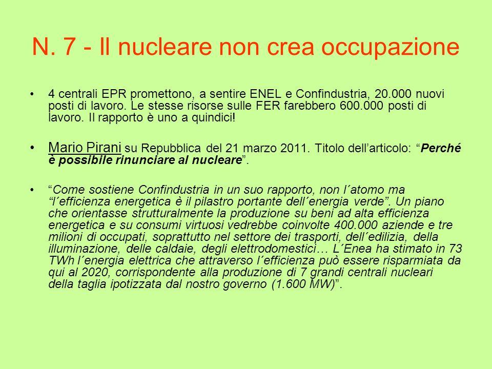 N. 7 - Il nucleare non crea occupazione