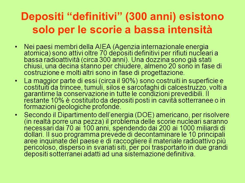 Depositi definitivi (300 anni) esistono solo per le scorie a bassa intensità