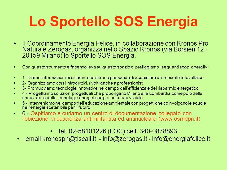 Lo Sportello SOS Energia