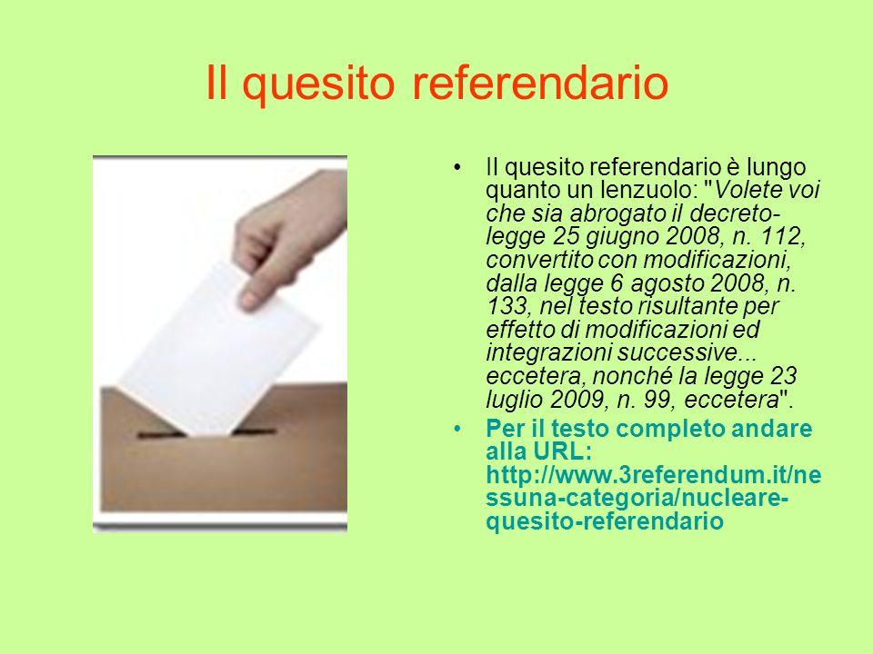 Il quesito referendario
