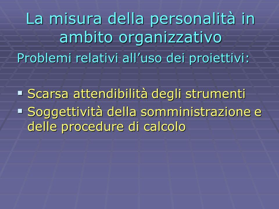 La misura della personalità in ambito organizzativo