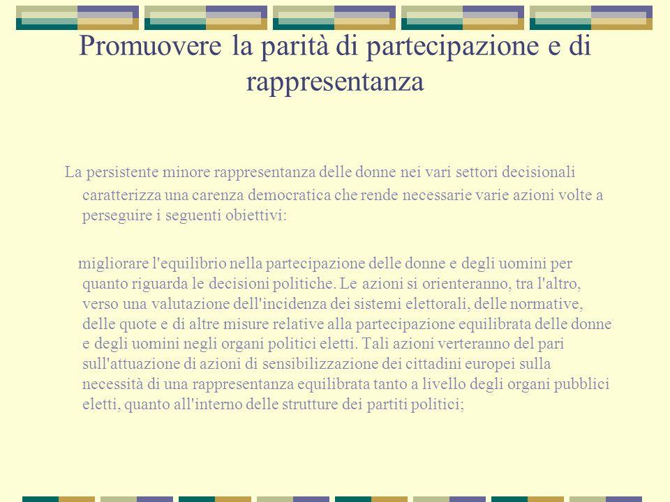 Promuovere la parità di partecipazione e di rappresentanza