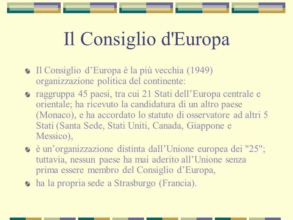Il Consiglio d Europa Il Consiglio d'Europa è la più vecchia (1949) organizzazione politica del continente: