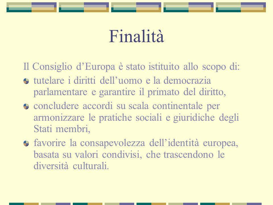 Finalità Il Consiglio d'Europa è stato istituito allo scopo di: