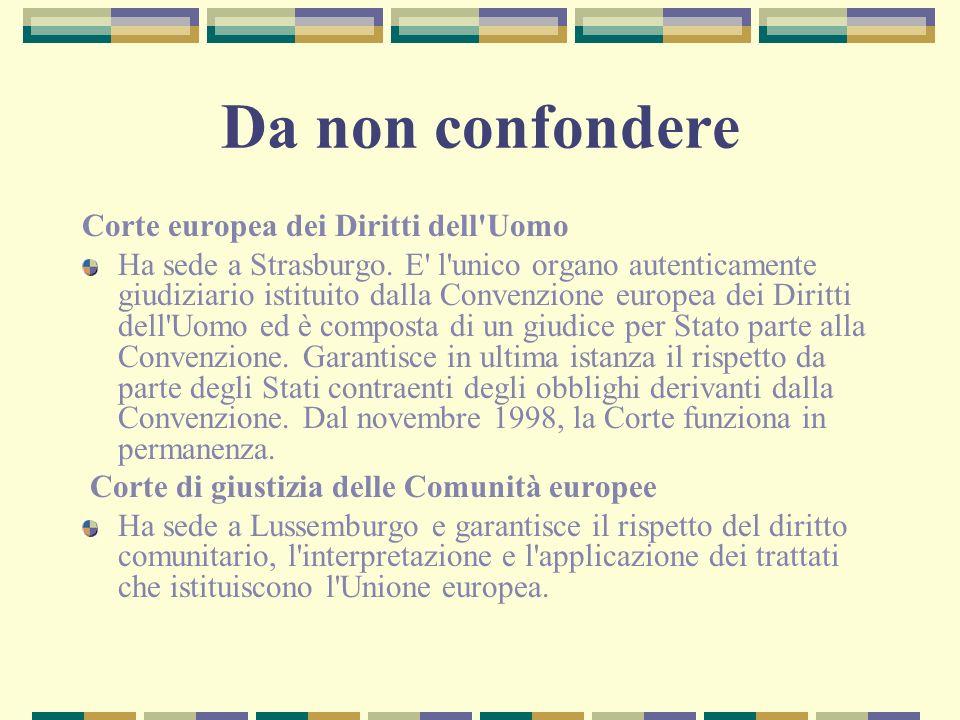 Da non confondere Corte europea dei Diritti dell Uomo