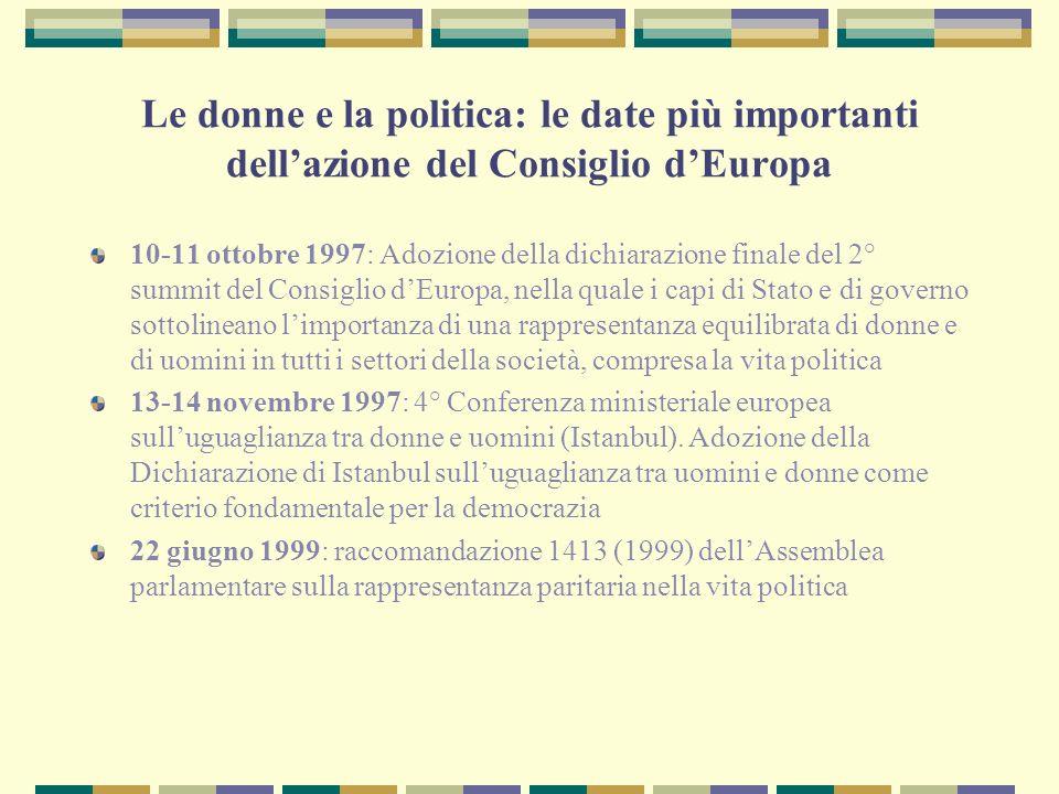 Le donne e la politica: le date più importanti dell'azione del Consiglio d'Europa