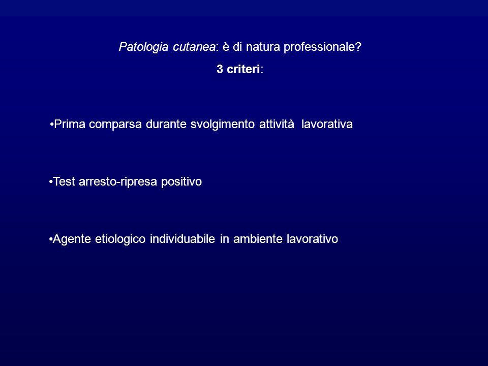 Patologia cutanea: è di natura professionale