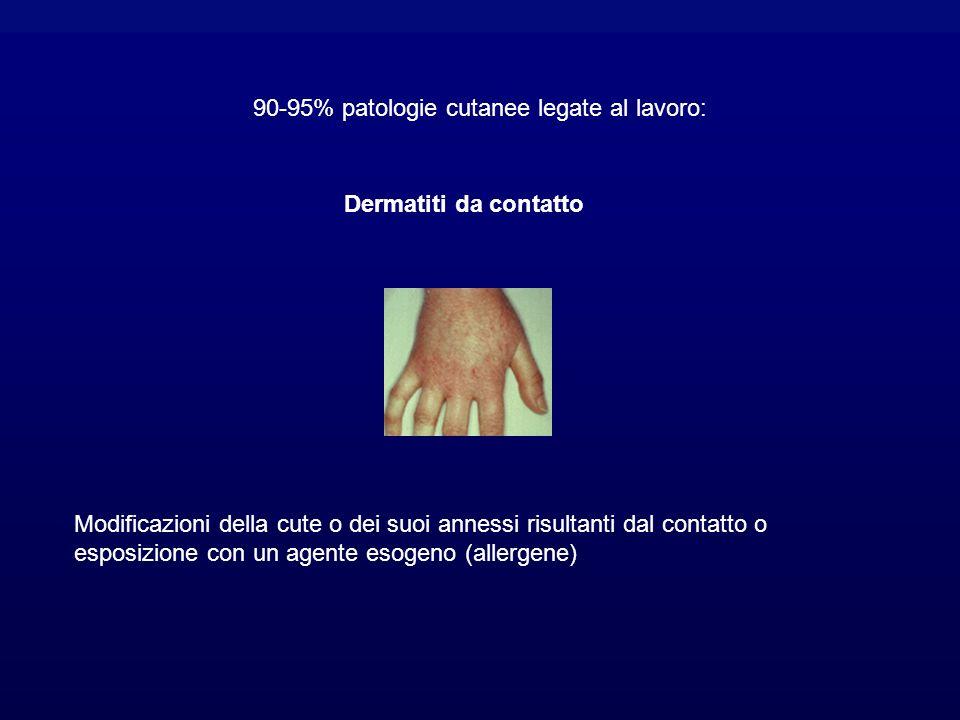 90-95% patologie cutanee legate al lavoro: