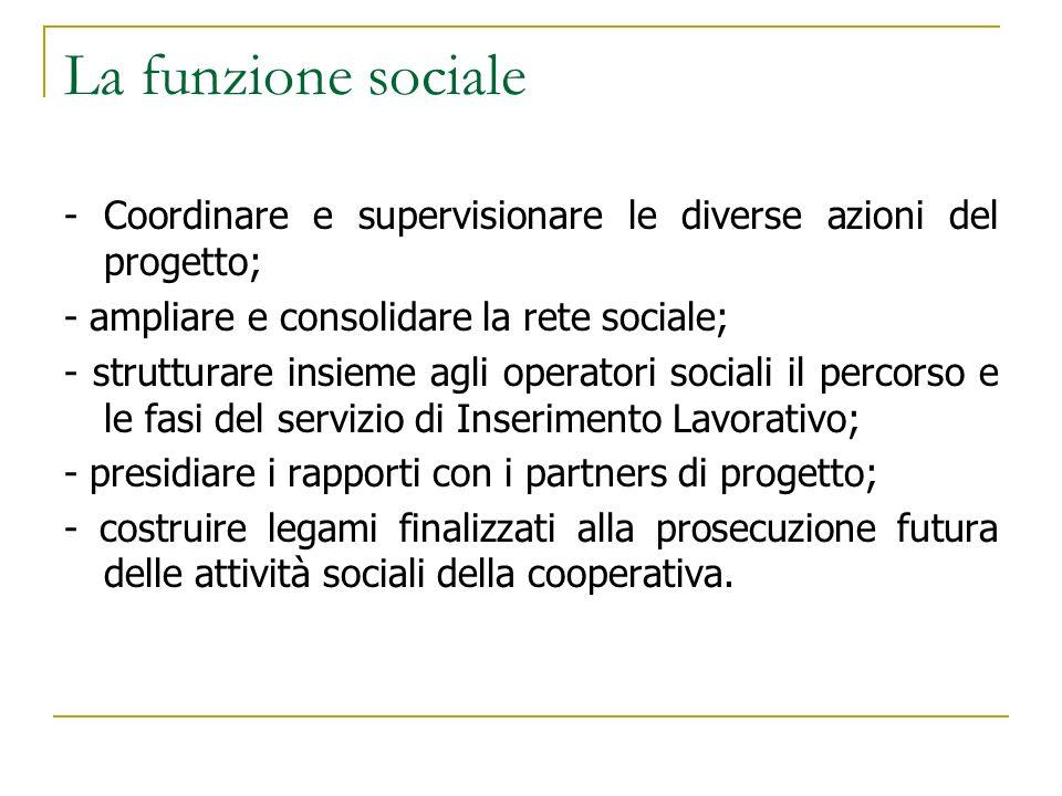 La funzione sociale - Coordinare e supervisionare le diverse azioni del progetto; - ampliare e consolidare la rete sociale;