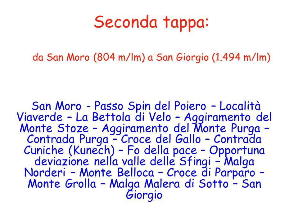 Seconda tappa: da San Moro (804 m/lm) a San Giorgio (1.494 m/lm)