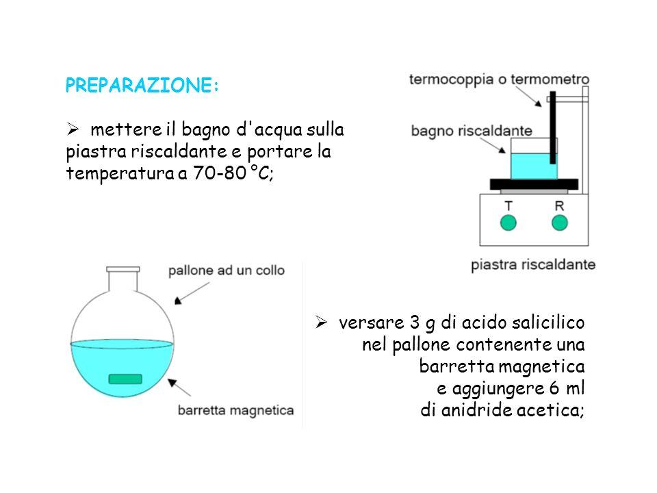 PREPARAZIONE: mettere il bagno d acqua sulla. piastra riscaldante e portare la. temperatura a 70-80 °C;