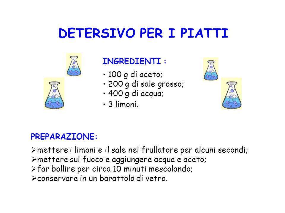 DETERSIVO PER I PIATTI INGREDIENTI : 100 g di aceto;