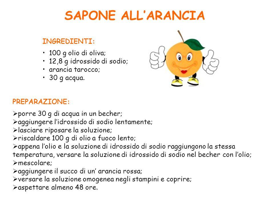 SAPONE ALL'ARANCIA INGREDIENTI: 100 g olio di oliva;