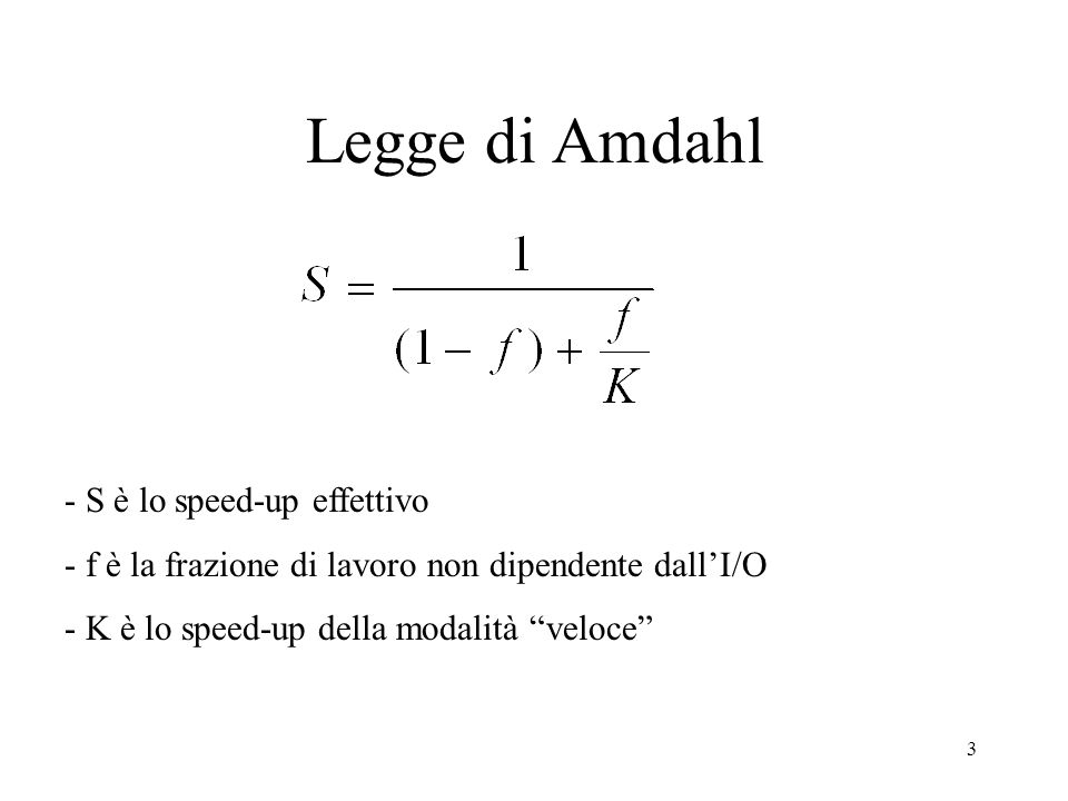 Legge di Amdahl - S è lo speed-up effettivo