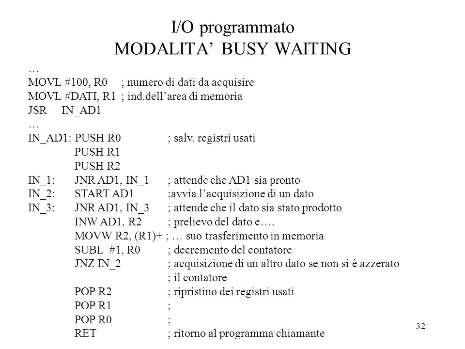 I/O programmato MODALITA' BUSY WAITING
