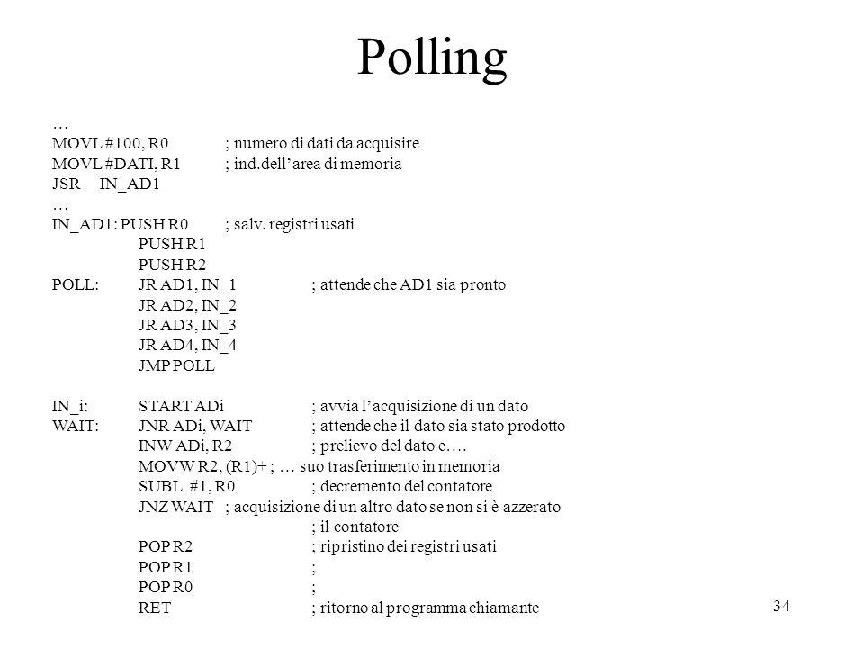 Polling … MOVL #100, R0 ; numero di dati da acquisire