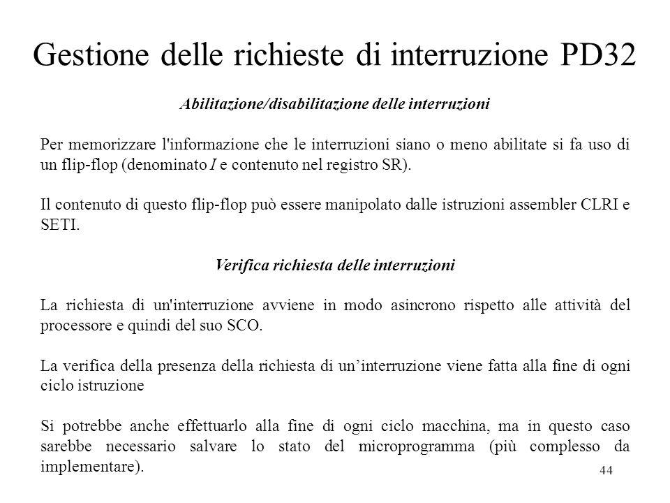 Gestione delle richieste di interruzione PD32