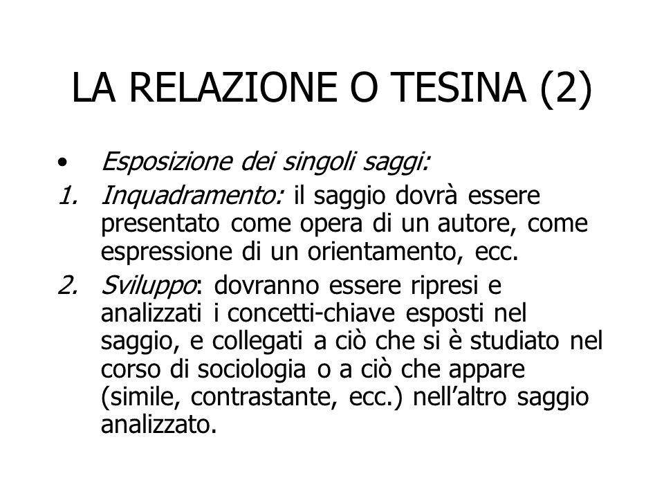 LA RELAZIONE O TESINA (2)