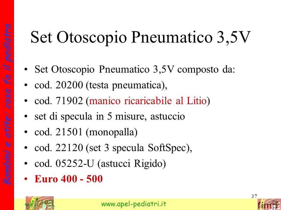 Set Otoscopio Pneumatico 3,5V