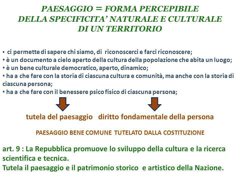 PAESAGGIO = FORMA PERCEPIBILE DELLA SPECIFICITA' NATURALE E CULTURALE