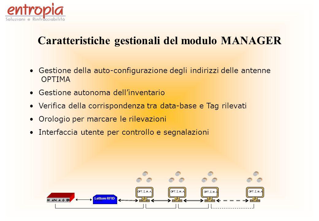 Caratteristiche gestionali del modulo MANAGER