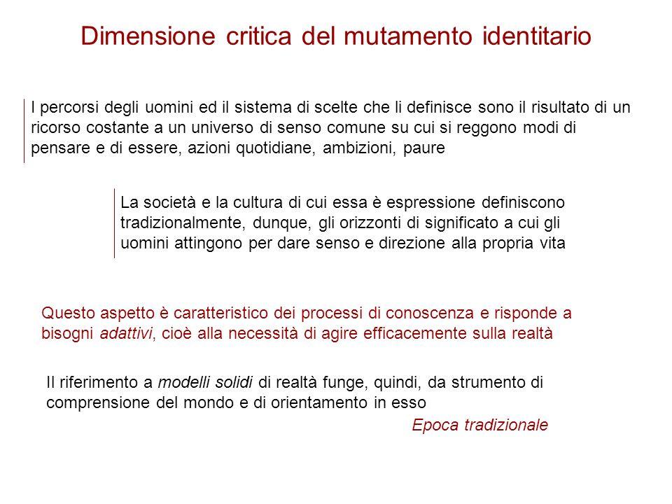 Dimensione critica del mutamento identitario