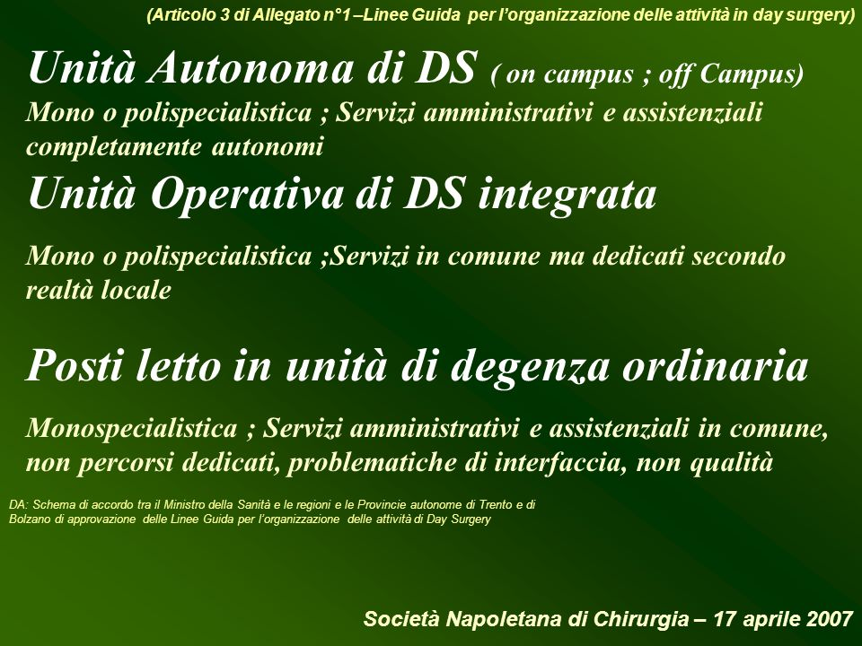 Unità Autonoma di DS ( on campus ; off Campus)