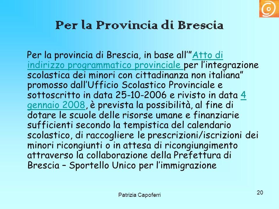 Per la Provincia di Brescia