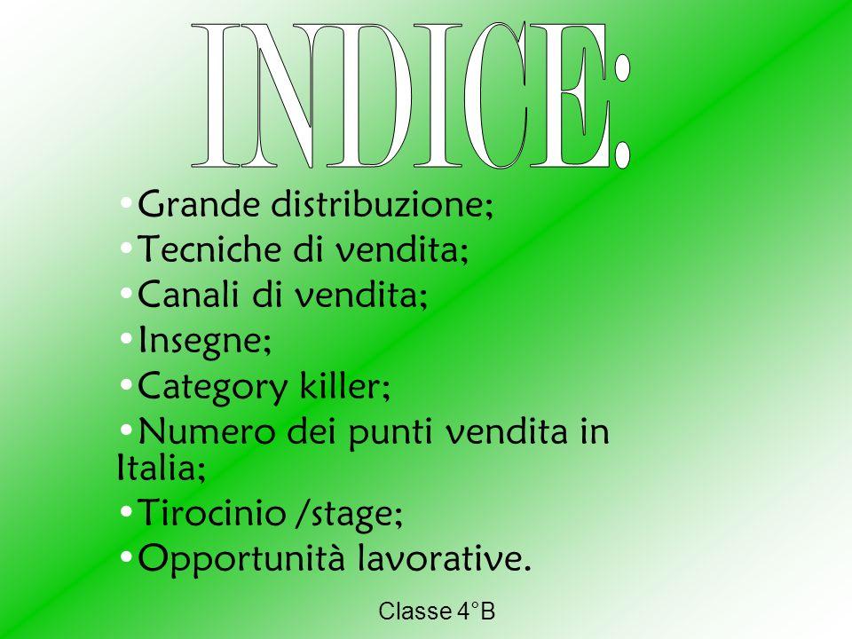 INDICE: Grande distribuzione; Tecniche di vendita; Canali di vendita;