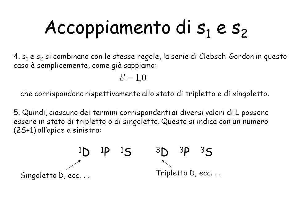 Accoppiamento di s1 e s2 1D 1P 1S 3D 3P 3S