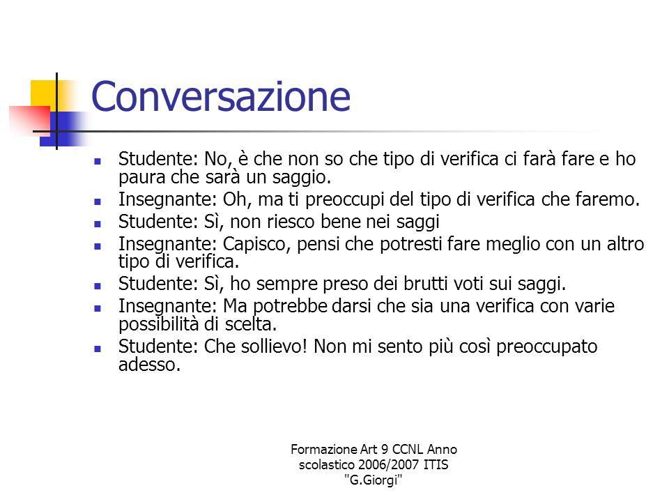 Formazione Art 9 CCNL Anno scolastico 2006/2007 ITIS G.Giorgi