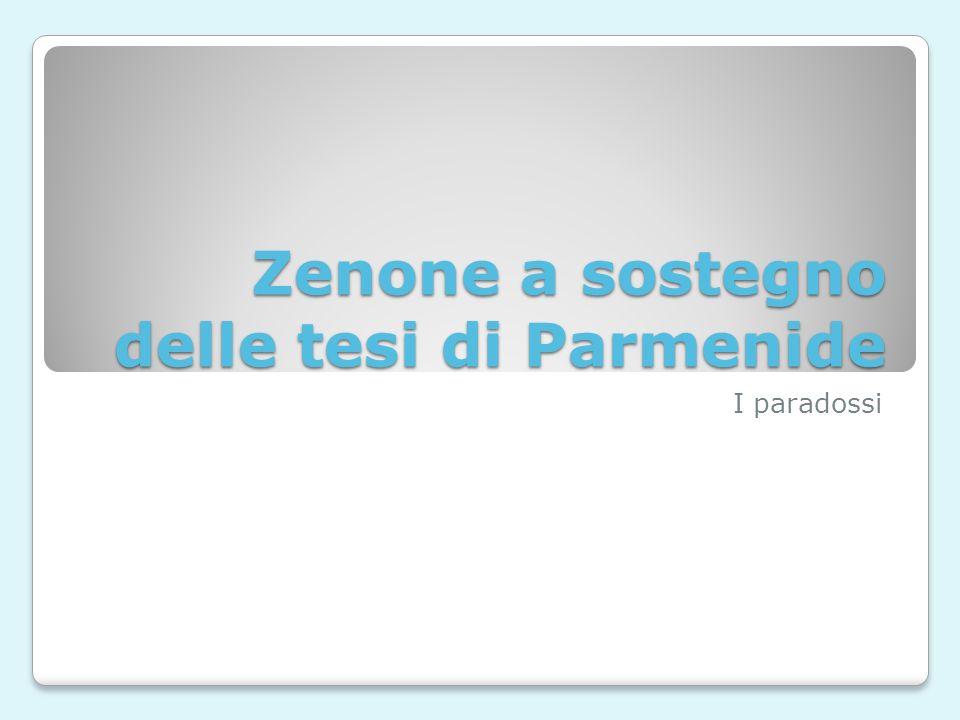 Zenone a sostegno delle tesi di Parmenide