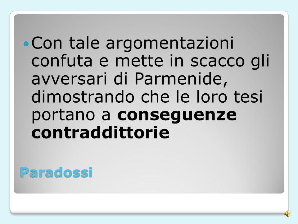Con tale argomentazioni confuta e mette in scacco gli avversari di Parmenide, dimostrando che le loro tesi portano a conseguenze contraddittorie