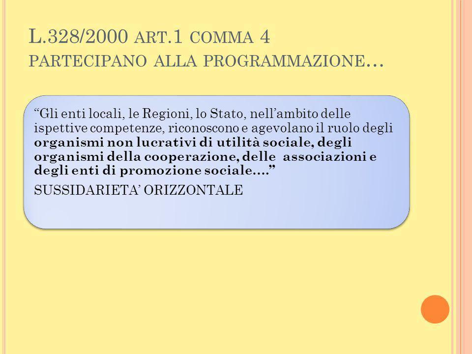 L.328/2000 art.1 comma 4 partecipano alla programmazione…