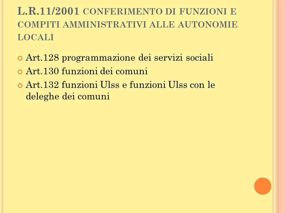 L.R.11/2001 conferimento di funzioni e compiti amministrativi alle autonomie locali