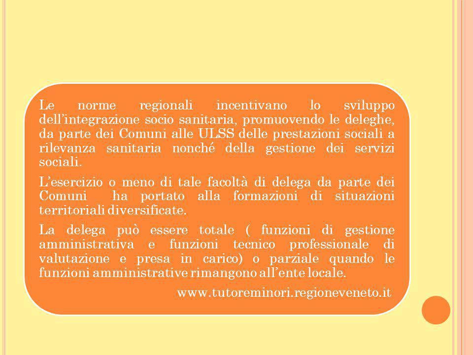 Le norme regionali incentivano lo sviluppo dell'integrazione socio sanitaria, promuovendo le deleghe, da parte dei Comuni alle ULSS delle prestazioni sociali a rilevanza sanitaria nonché della gestione dei servizi sociali.