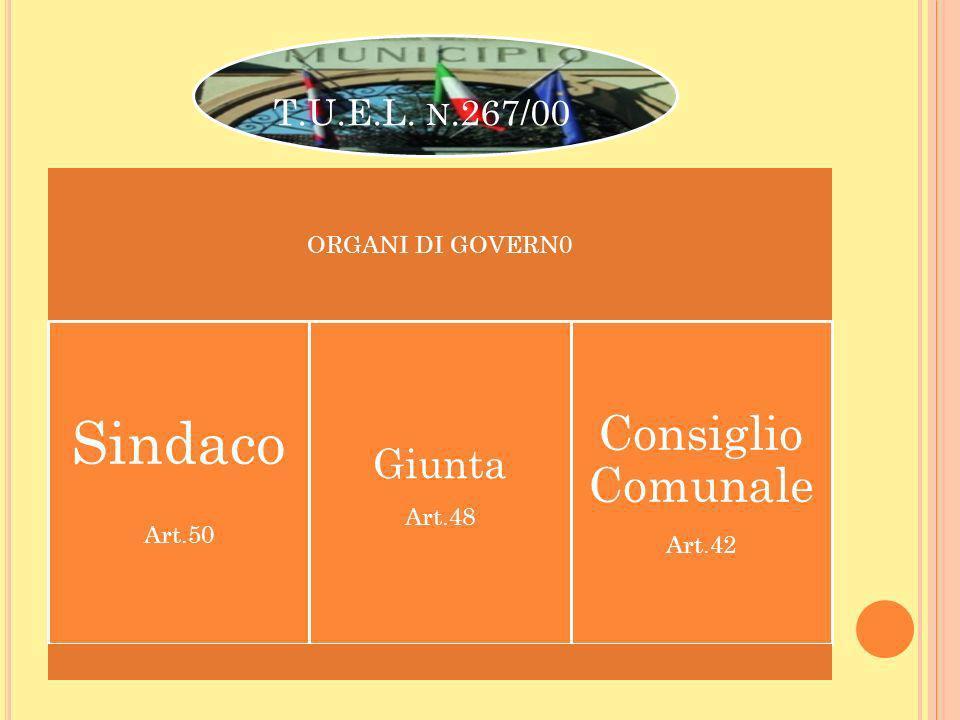 Sindaco Consiglio Comunale Giunta T.U.E.L. n.267/00 ORGANI DI GOVERN0