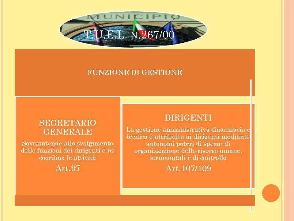 T.U.E.L. n.267/00 DIRIGENTI SEGRETARIO GENERALE Art.97 Art.107/109