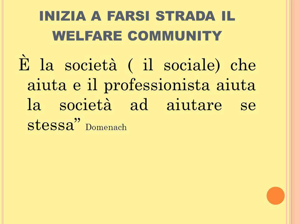 inizia a farsi strada il welfare community