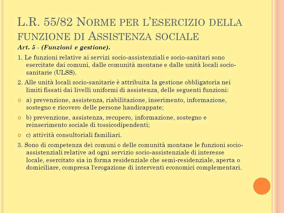 L.R. 55/82 Norme per l'esercizio della funzione di Assistenza sociale
