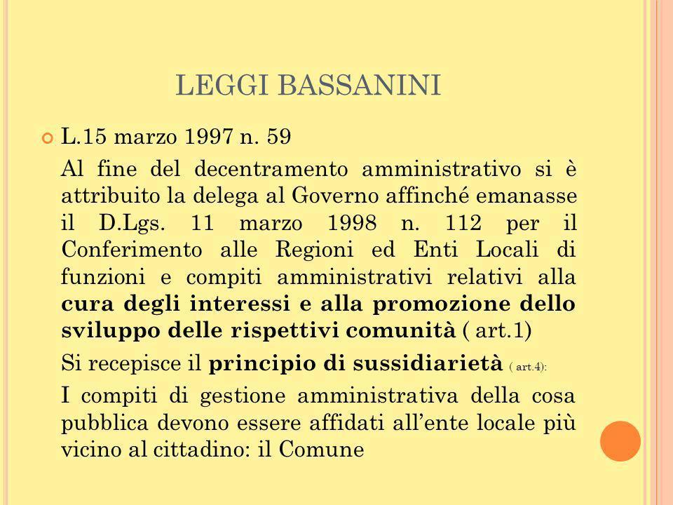 LEGGI BASSANINI L.15 marzo 1997 n. 59